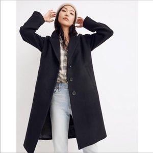 Madewell Bergen Cocoon Coat  Black  Sz L NWT